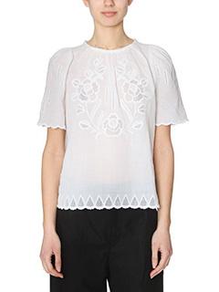 Isabel Marant-Blusa Araza in lino bianco-ricami tono su tono