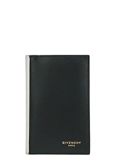 Givenchy-Portafoglio CSLG Billf 6  in pelle nera bianca