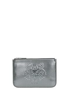 Kenzo-Pochette Small Tiger Metallic in pvc  grigio