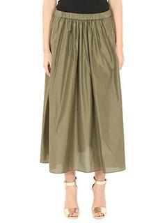 Kenzo-Gonna A Line Skirt in seta verde-elastico in vita