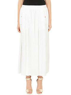 Kenzo-Gonna A Line Skirt in cotone bianco-elastico in vita