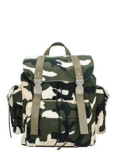Valentino-Zaino in tessuto camouflage verde-due tasche