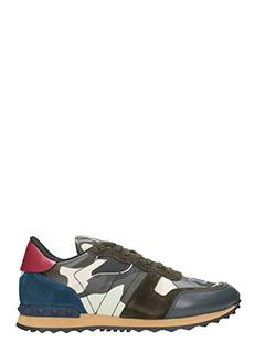 Valentino-Sneakers Rockrunner in pelle e tessuto blue marrone