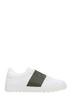 Valentino-Sneakers Low Stripe in pelle bianca verde