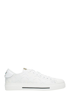 Valentino-Sneakers Low in pelle e nylon bianco