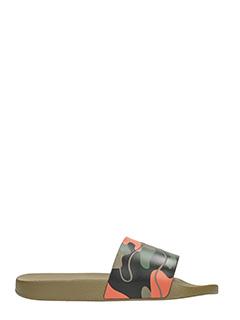 Valentino-Slides in gomma camouflage arancio verde nera