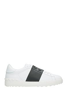 Valentino-Sneakers Low Stripe in pelle bianca nera