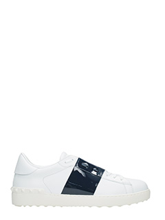 Valentino-Sneakers Low Stripe in pelle bianca blue