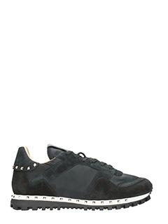 Valentino-Sneakers Rockrunner in camoscio e tessuto nero