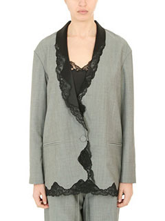 Alexander Wang-Blazer Single Breasted in lana grigia