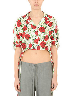 Alexander Wang-Camicia  Cropped Rose Print Blouse in seta bianca rossa