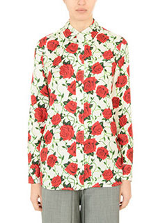 Alexander Wang-Camicia Straith Cut Button Rose Print in seta bianca rossa