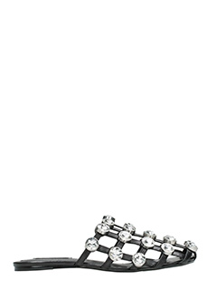 Alexander Wang-Jeweled Amelia black leather flats