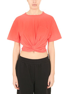 T by Alexander Wang-T-Shirt Cotton Slee Tee in jersey rosso corallo