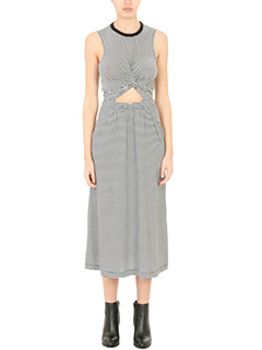 T by Alexander Wang-Vestito Muscle Dress in cotone stretch bianco e nero