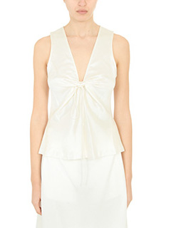 T by Alexander Wang-Top Sleeveles in seta avorio