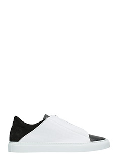 Ylati-Sneakers Nerone Low in pelle bianca nera