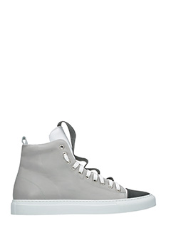 Ylati-Sneakers Sorrento Low in pelle grigia nera-lacci