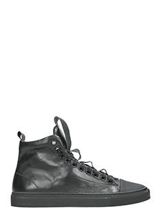 Ylati-Sneakers Sorrento High in pelle nera-lacci