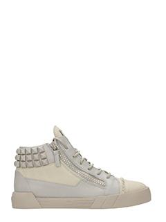 Giuseppe Zanotti-Sneakers Mid in pelle e tessuto taupe