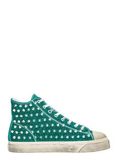 Gienchi-Sneakers Jean Michel in tessuto glitter verde