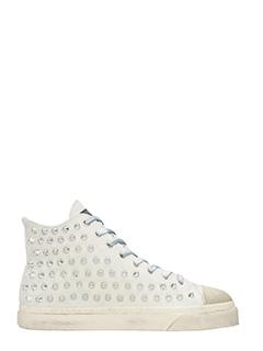 Gienchi-Sneakers Jean Michel in camoscio bianco