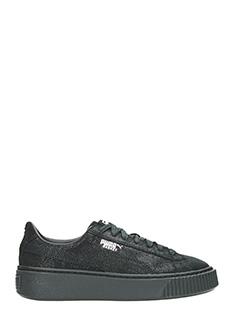 Puma-Sneakers Platform Basket in camoscio nero