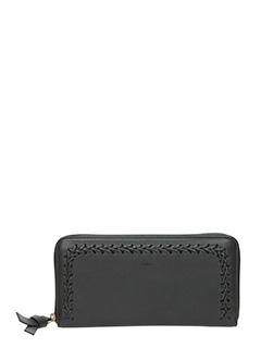 Chloé-Portafoglio Long Zipped in pelle nera