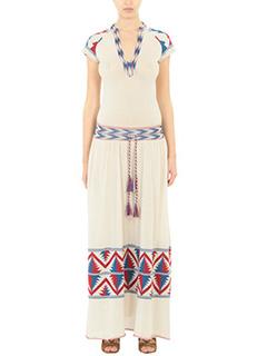 Laneus-Vestito Ukcraina in cotone bianco