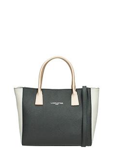 Lancaster-Borsa Shopping Bag Small in pelle nera bianca