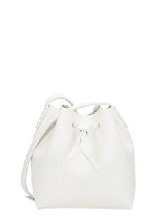 Lancaster-Borsa Mini Bucket in pelle bianca