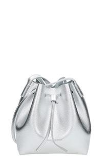 Lancaster-Borsa Mini Bucket in pelle argento