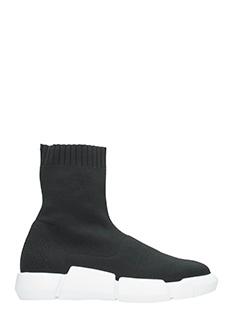 Elena Iachi-Sneakers in tessuto elastico nero