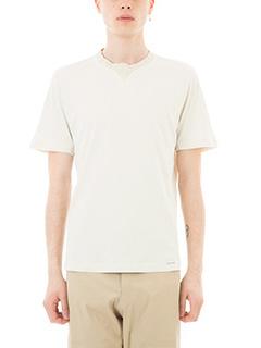 Monobi-T-shirt bonded in cotone bianco beige