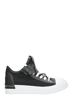 Cinzia Araia-Sneakers basse in pelle e tessuto nero
