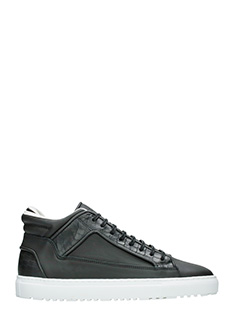 Etq .-Sneakers Mid 2 Embossed Croc in pelle nera