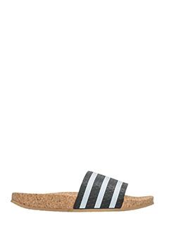 Adidas-Sandali adilette cork in pelle bianca e nera