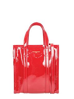 Balenciaga-Borsa Bazar Shopper Xs in vernice rossa