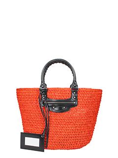 Balenciaga-Borsa Panier Bistrot L in rafia arancione e pelle nera