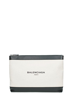 Balenciaga-Pochette navy in canvas bianco