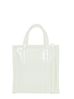 Balenciaga-Borsa Bazar Shopper Xs in vernice bianca
