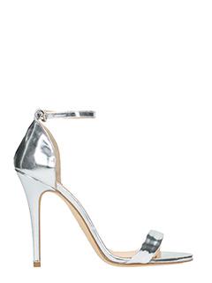 The Seller-Sandali in pelle specchiata argento-cinturino alla caviglia