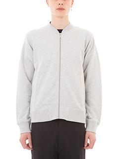 Kenzo-Felpa in cotone grigio. chiusura con zip