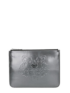 Kenzo-Pochette A5 Metallic Tiger Clutch in pvc grigio