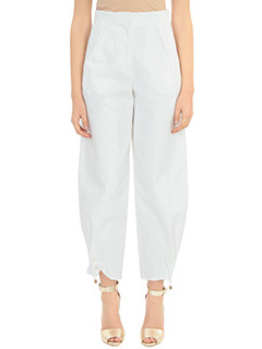 Kenzo-High waisted  white cotton pants