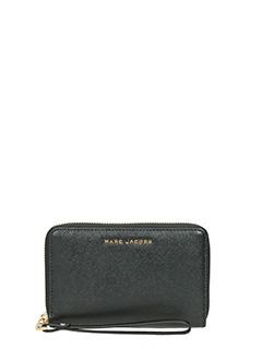 Marc Jacobs-Portafoglio Tricolor Zip Phone Wristlet in pelle saffiano nera