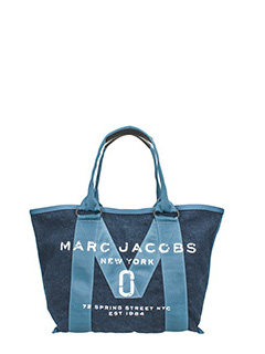 Marc Jacobs-Borsa Small Tote in nylon e cotone denim blue