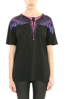 Marcelo Burlon-T-Shirt Alejandra in cotone nero