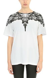 Marcelo Burlon-T-Shirt Ofelia in cotone bianco nero