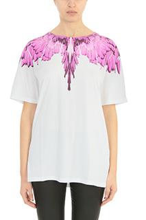 Marcelo Burlon-T-Shirt Narela in cotone bianco rosa